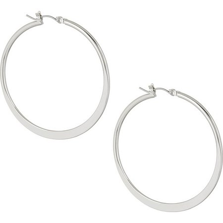 Chaps Large Knife Edge Silver Tone Hoop Earrings