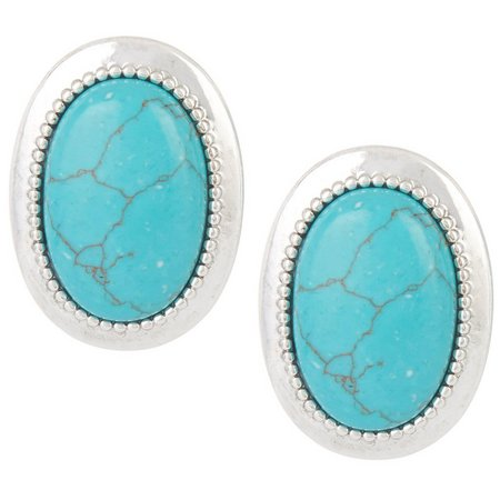 Chaps Turquoise Blue Oval Clip On Earrings