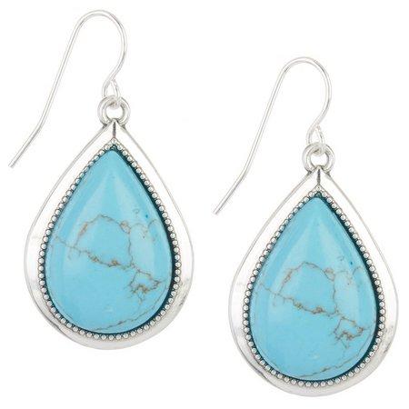 Chaps Turquoise Blue Howlite Teardrop Earrings