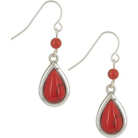 Chaps Coral Red Silver Tone Teardrop Earrings