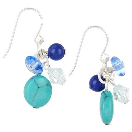 Chaps Blue Multi Bead Cluster Drop Earrings