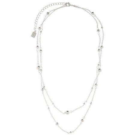 Chaps 2 Row Silver Tone Chain & Bead