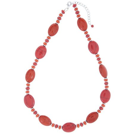 Chaps Red Coral Howlite Stones Necklace