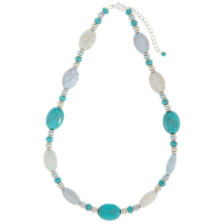 Chaps Turquoise Blue Oval Beaded Necklace