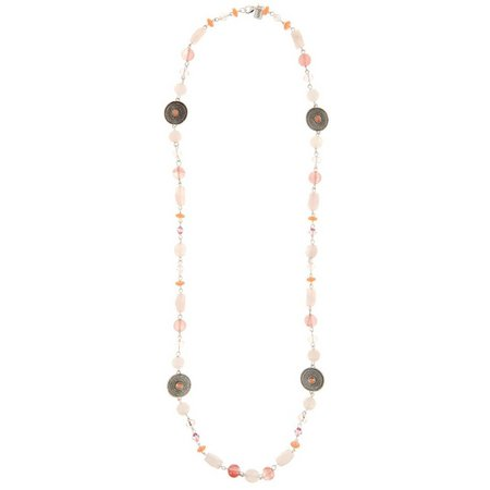 Chaps Rose Pink Multi Bead & Disc Necklace