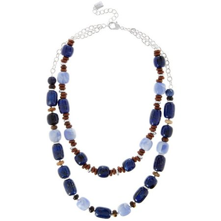 Chaps 2 Row Blue Lapis Multi Bead Necklace