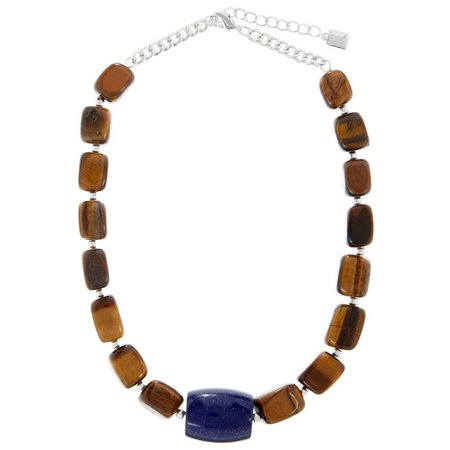 Chaps Chunky Tiger Eye & Lapis Stone Necklace