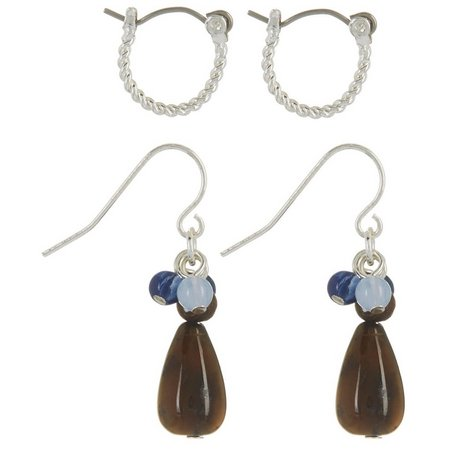 Chaps Tiger Eye Bead Drop & Hoop Earring