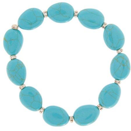 New! Chaps Turquoise Blue Oval Stone Stretch Bracelet