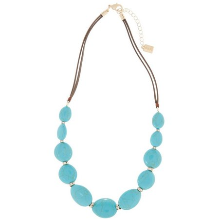 Chaps Turquoise Blue Oval Front Necklace