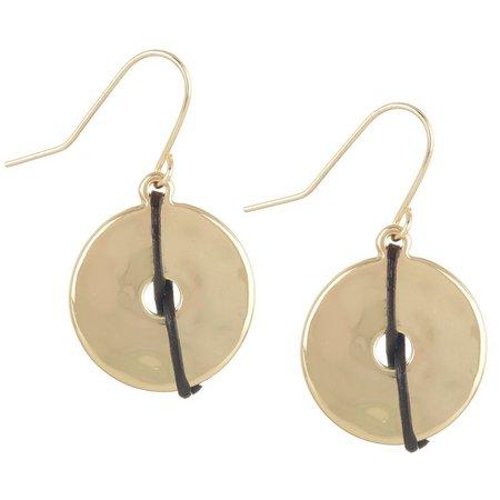Chaps Brown & Gold Tone Disc Drop Earrings