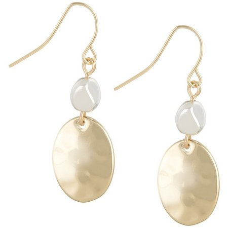 Chaps Two Tone Double Oval Drop Earrings