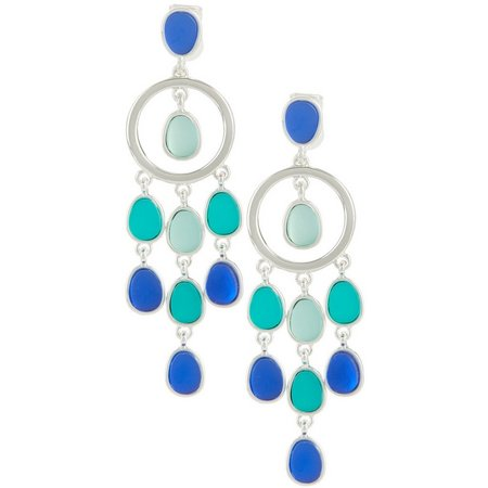 Chaps Sea Glass Blue Multi Clip On Earrings