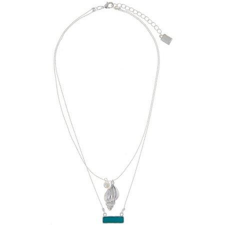 Chaps 2 Row Sea Life Shell Charm Necklace