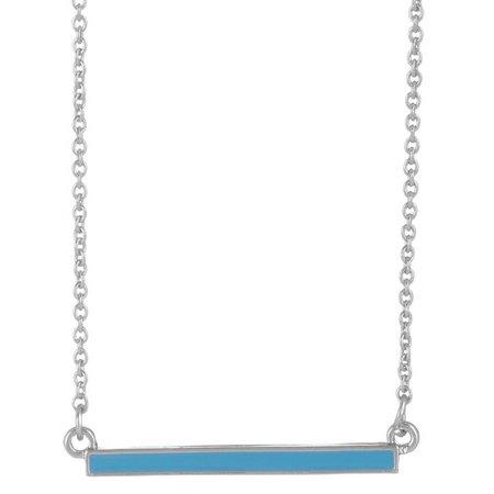 Chaps Turquoise Blue Enamel Bar Pendant Necklace