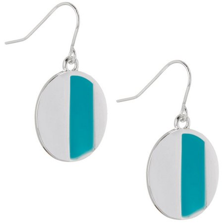 Chaps Turquoise Blue Stripe Disc Earrings