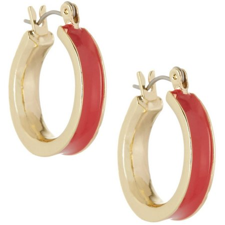 Chaps Red Enamel Gold Tone Hoop Earrings