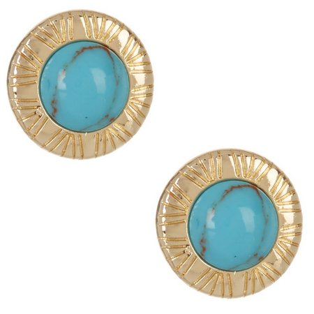 Chaps Turquoise Blue Round Button Earrings