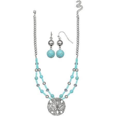 Paradise Shores Turquiose Blue Sand Dollar Necklace Set