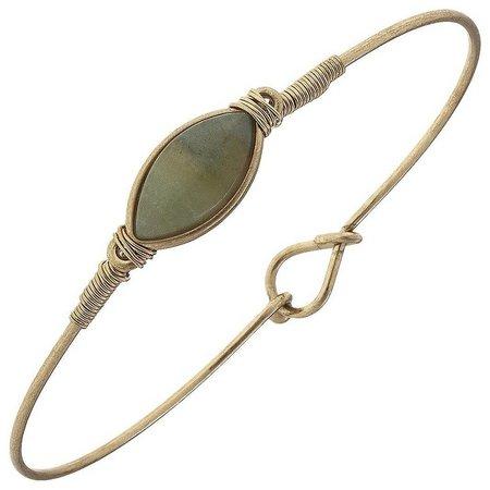 BLANK CANVAS Amazonite Gold Tone Latch Bracelet