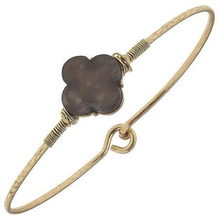 BLANK CANVAS Grey Quatrefoil Latch Bracelet