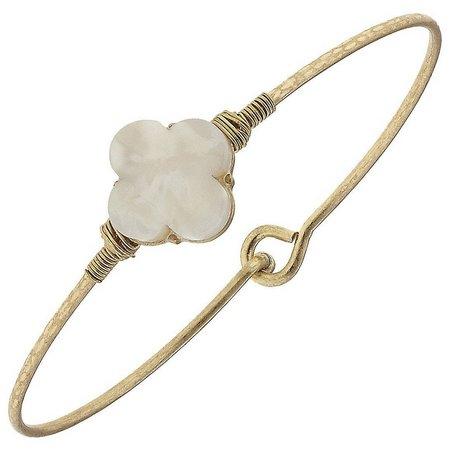 BLANK CANVAS White Quatrefoil Gold Tone Bracelet