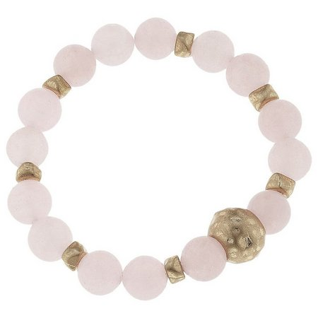 BLANK CANVAS Rose Quartz Bead Stretch Bracelet