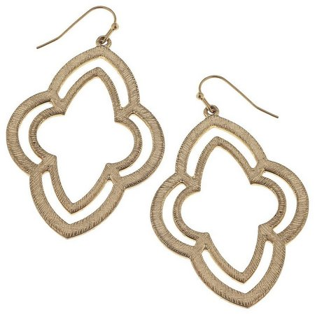 BLANK CANVAS Gold Tone Moroccan Drop Earrings