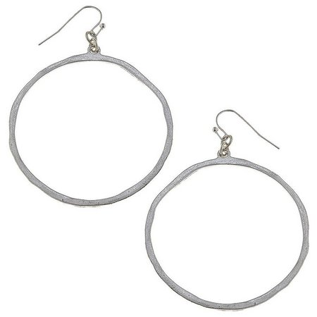 BLANK CANVAS Thin Silver Tone Ring Earrings