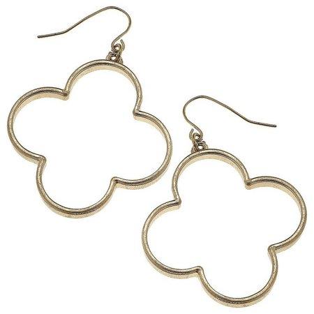 BLANK CANVAS Gold Tone Open Quatrefoil Earrings