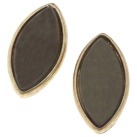 BLANK CANVAS Amazonite Marquis Stud Earrings