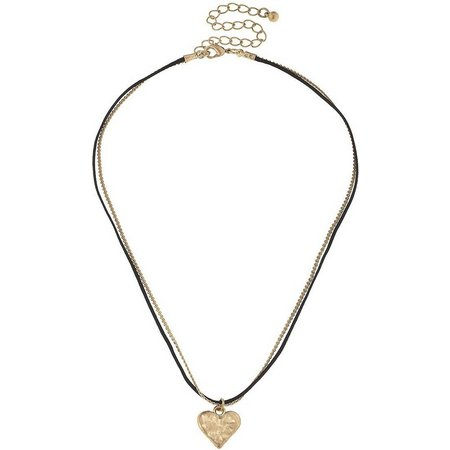 BLANK CANVAS Chain & Cord Heart Pendant Necklace