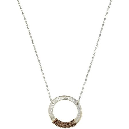 BLANK CANVAS Two Tone Wire Wrapped Circle Necklace