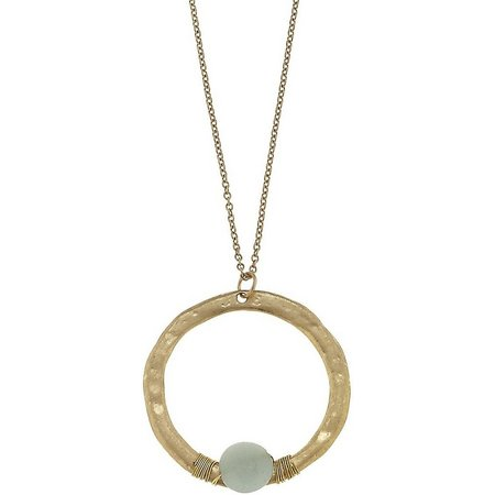 BLANK CANVAS Amazonite Circle Pendant Necklace