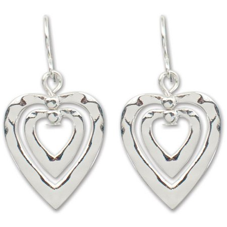 PIPER MADISON Double Hammered Heart Earrings