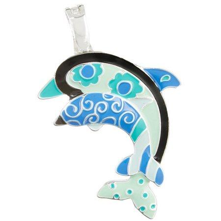 Wearable Art By Roman Blue Double Dolphin Pendant