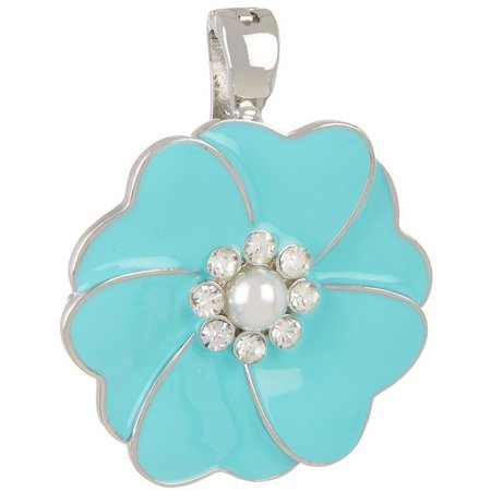 Wearable Art By Roman Aqua Enamel Flower Pendant