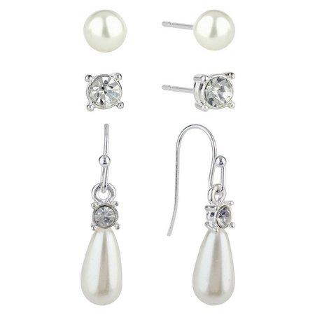 Roman 3-pc. Faux Pearl & Rhinestone Earring Set