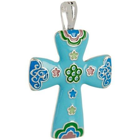 Wearable Art By Roman Aqua Blue Cross Pendant