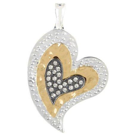 Wearable Art By Roman Tri-Tone Heart Pendant