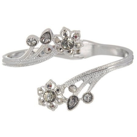 Roman Crystal Flower Hinged Bracelet