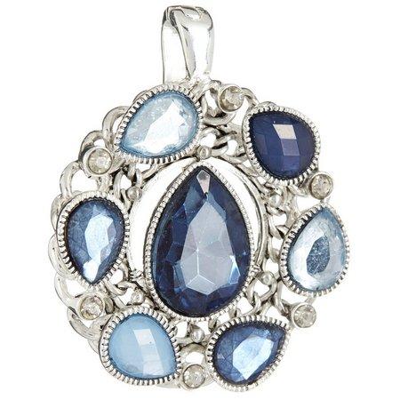 Wearable Art By Roman Blue Teardrop Wreath Pendant