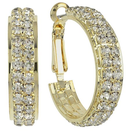 Roman Wide Gold Tone Crystal Hoop Earrings