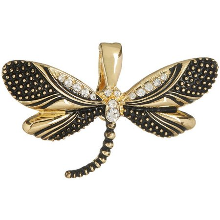 Wearable Art By Roman Gold Tone Dragonfly Pendant