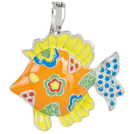 Wearable Art By Roman Enamel Mosaic Fish Pendant