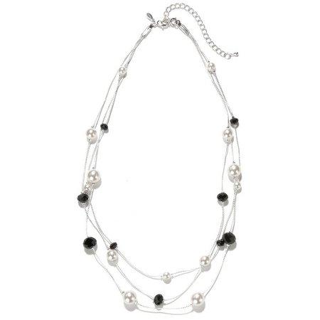 Roman Black & Faux Pearl Three Row Necklace