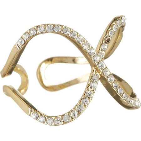 City by City Rhinestone X Shape Open Band