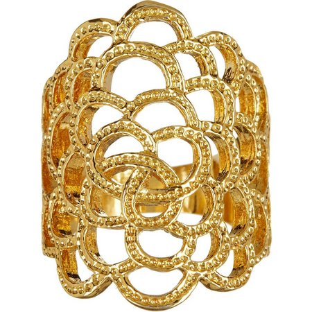 City by City Gold Tone Open Filigree Ring