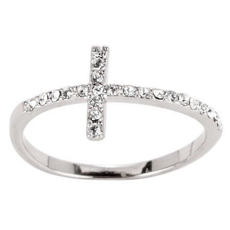 City by City Silver Tone Rhinestone Cross Ring