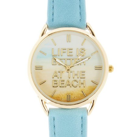 Bay Studio Sunset Beach Blue Strap Watch
